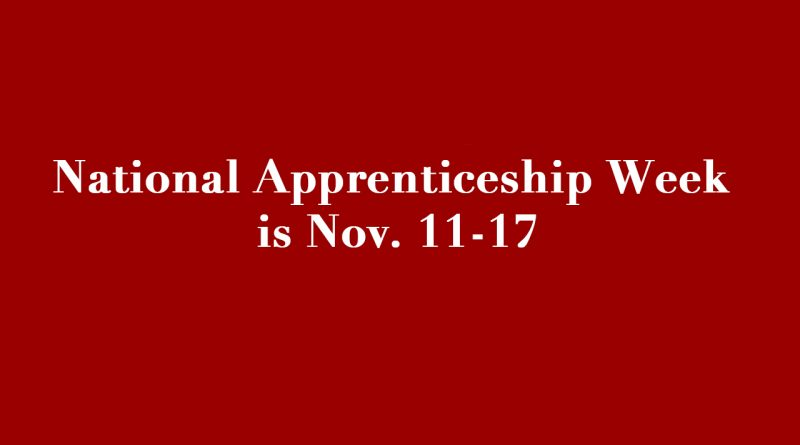 National Apprenticeship Week is Nov. 11-17