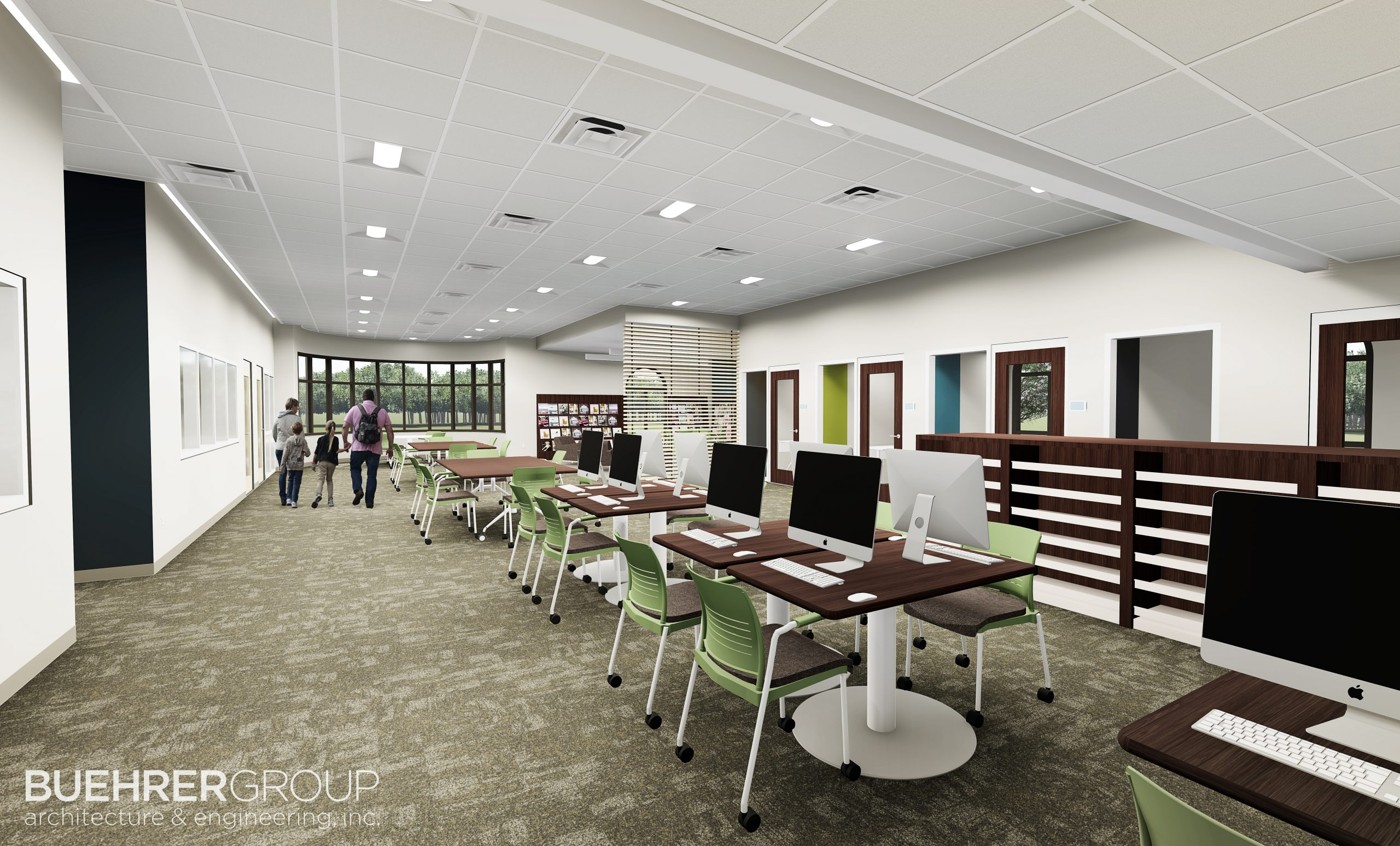 Concept of Birchard library interior renovation